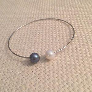Silver pearl cuff bracelet